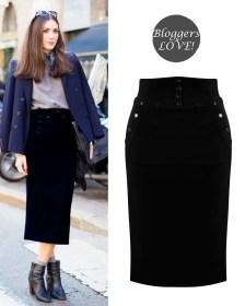 blogger high waist φούστα buttons