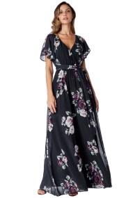 romantic maxi αέρινο φόρεμα Petunia black