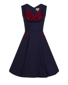 vintage deep blue φόρεμα Ophelia cotton
