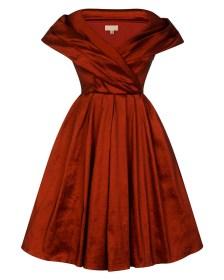 vintage φόρεμα chic taffeta 50s κόκκινο rust
