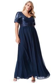 plus size αέρινο paillette & chiffon maxi φόρεμα σε μπλε navy
