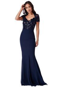 επίσημο glam φόρεμα mermaid Ines σε μπλε navy