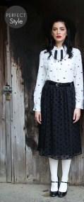 vintage φούστα σιφόν velvet πουά Manon