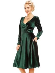 40s vintage velvet wrap φόρεμα Sylvia σε emerald πράσινο