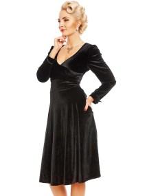 40s vintage velvet wrap φόρεμα Sylvia σε μαύρο