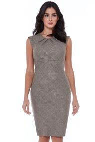 cool wool essential καρώ business φόρεμα