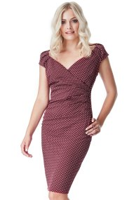 chic polka dot φόρεμα σε cherry μπορντώ
