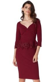 feminine peplum lace φόρεμα Sue wine