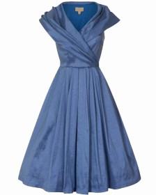 vintage φόρεμα chic taffeta pearl blue 50s