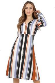 70s inspired ριγέ multicolor shirt dress Jenna