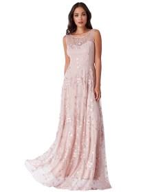 romantic maxi lace tulle φόρεμα Misty Rose