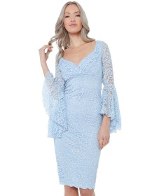 powder blue cocktail φόρεμα δαντέλα Crystelle