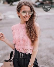 precious crochet top δαντέλα Corine salmon pink