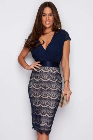 sophisticated coctail φόρεμα fine lace Chloe navy