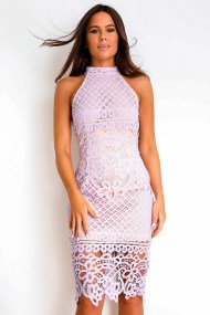 chic cocktail crochet φόρεμα δαντέλα Adele lilac