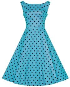 absolute vintage φόρεμα pinup 50s Bubblegum πουά τυρκουάζ