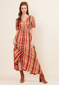 allday country chic καρώ gauze φόρεμα Melanie