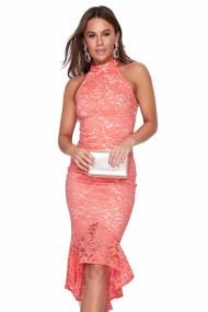 feminine cocktail φόρεμα δαντέλα fishtail Coralia