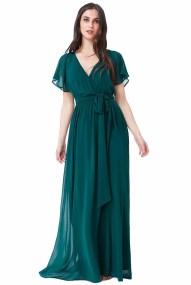 maxi αέρινο chiffon φόρεμα dark emerald