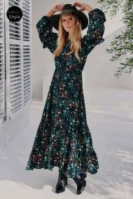 bohemian chic 70s inspired φόρεμα dark emerald Enya
