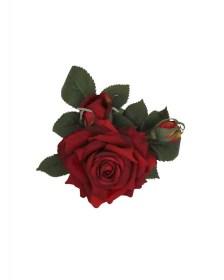vintage red rose '50s headpiece καρφίτσα