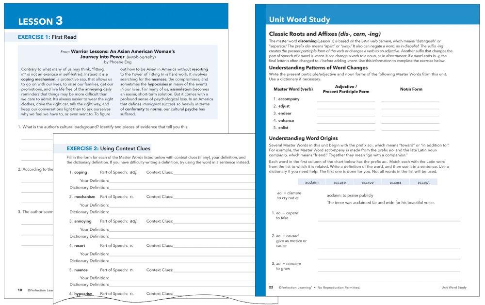 medium resolution of Vocabu-Lit®   Grades 6–12   Perfection Learning