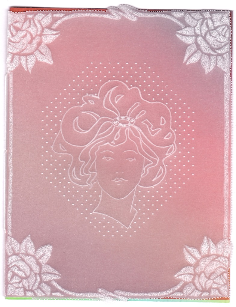 Mandy Haines Art Nouveau Rose Border And Lady