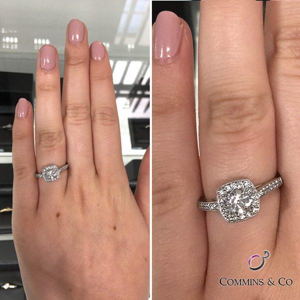 095ct Halo Diamond Engagement Ring HD012 Ireland