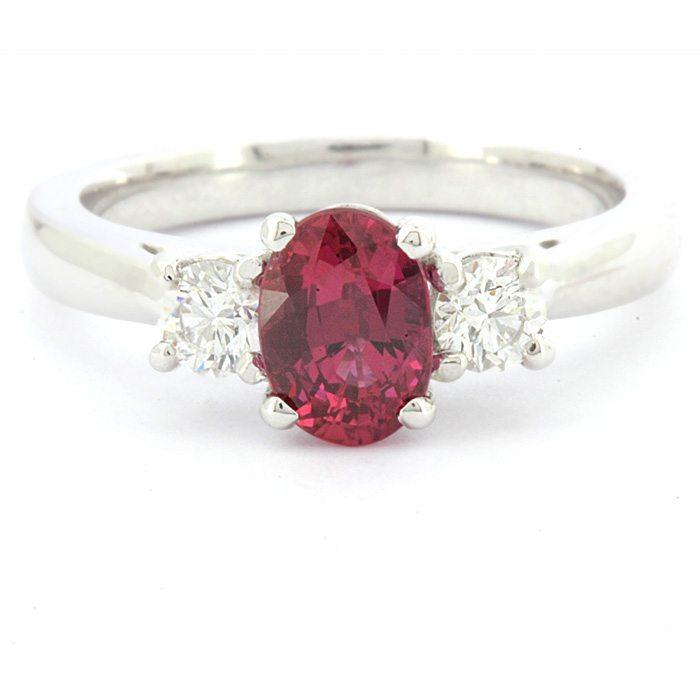 1 65ct Three Stone Oval Ruby Ring Gr053 Ireland Commins Amp Co Dublin
