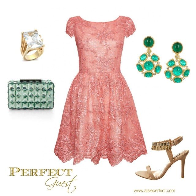 Perfect Wedding Guest Peach and Emerald