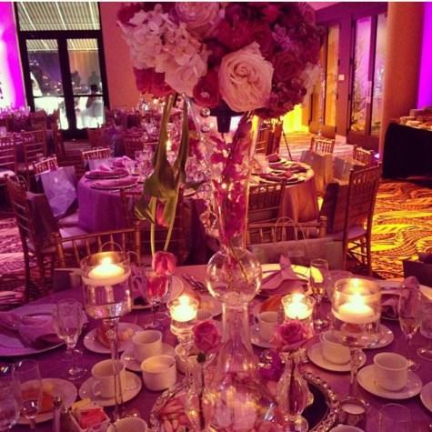 Pink and Purple Flower Centerpiece