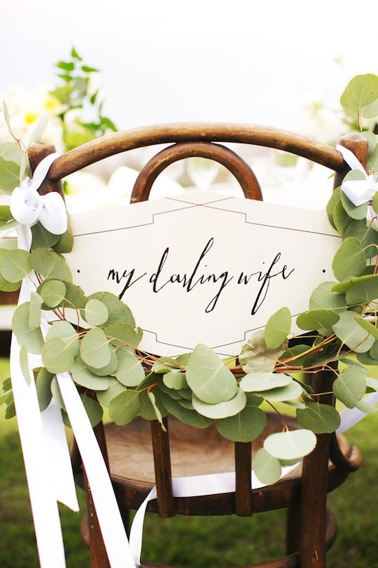 Wreath Wedding Chair Sign