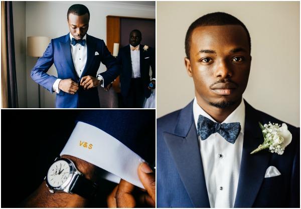 blue tux groom