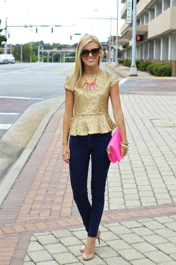 Sequin top paired with jeans | via Life with Emily