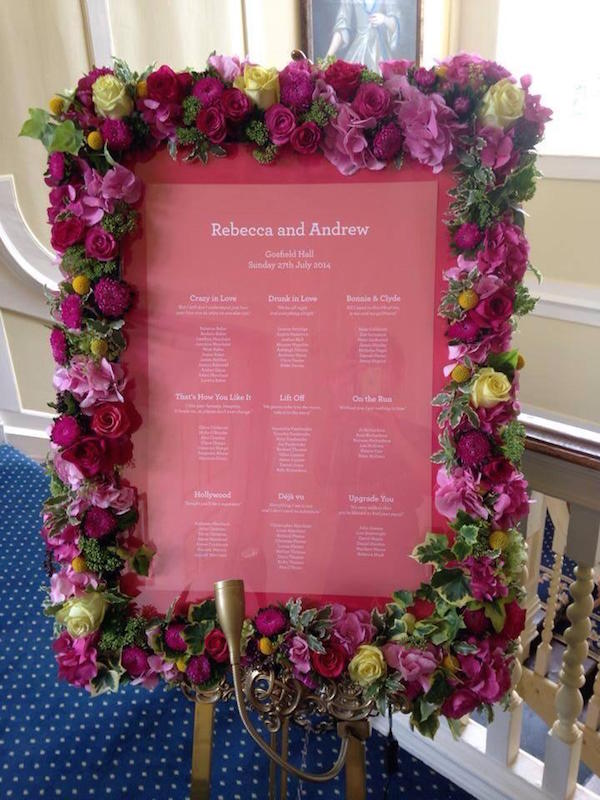 Floral Seating Chart (source)