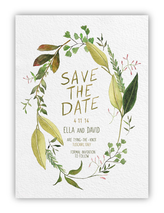 Greenery Themed Save the Date