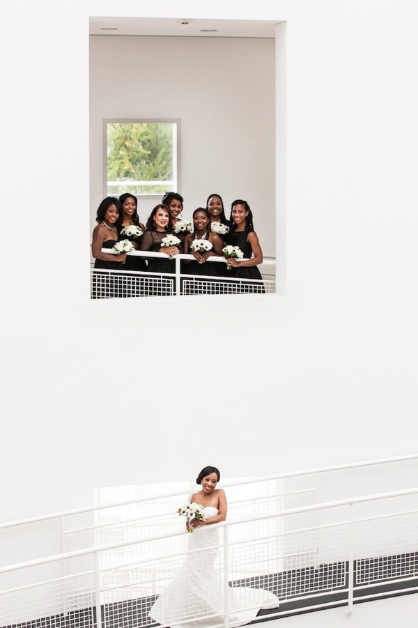 Modern Black and White Museum Wedding 12