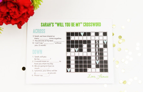 Will you be my bridesmaid crossword by Camis Paperie