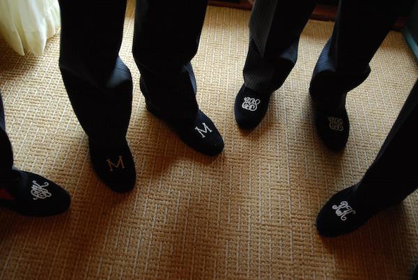 monogram smoking slippers groom style