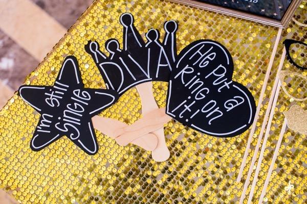 42 Black and Gold Glitter Bridal Shower