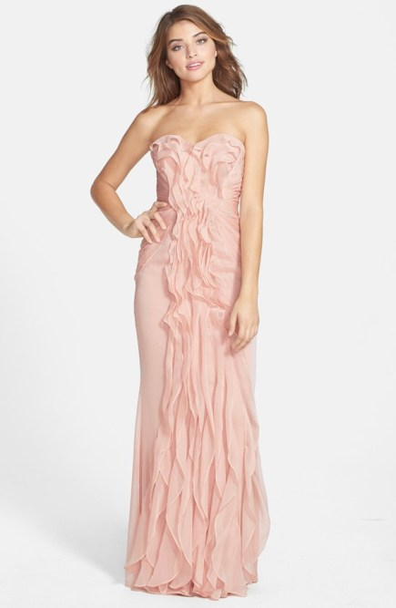 Ruffled bridesmaid dress by adriana papell