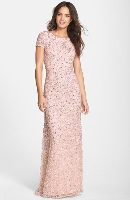 Short sleeve pink bridesmaid dress adriana papell