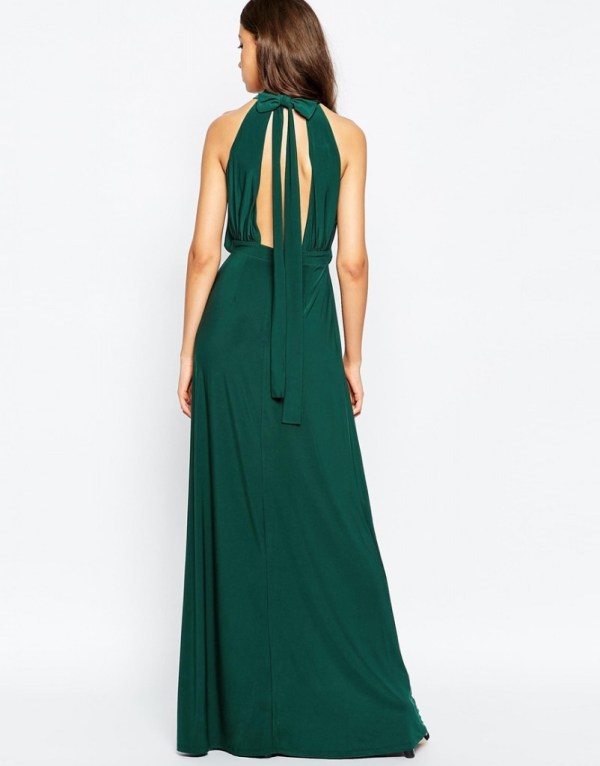 Holiday Wedding Guest Outfit-ASOS Halter Plunge Maxi Dress