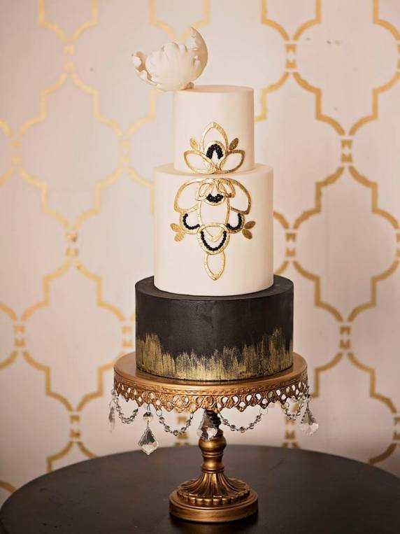 Amazing Wedding Cakes- White brown and gold cake