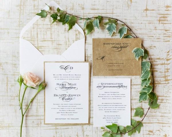 elegant rustic wedding invitation suite