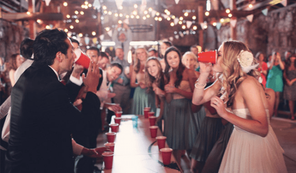 wedding after party beer pong