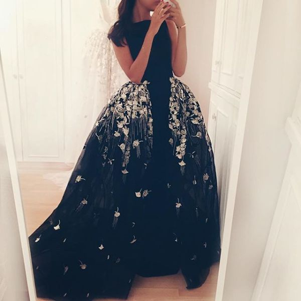 Razan Alazzouni Black Wedding Dress with Over Skirt