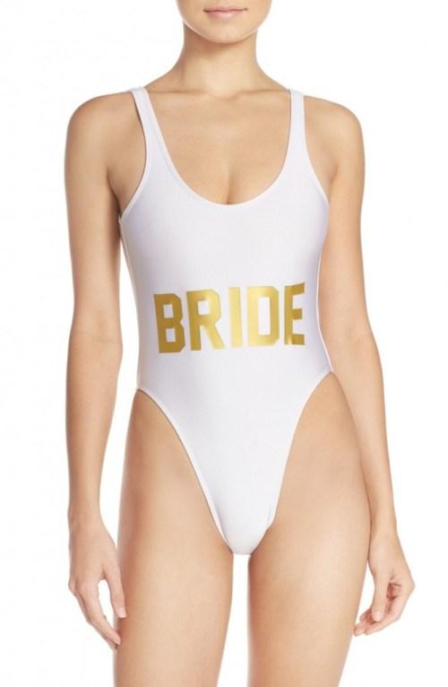 bride graphic swimsuit