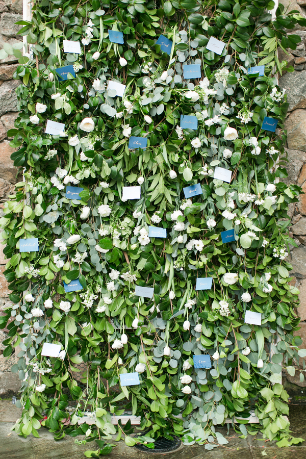 greenery wall escort cards