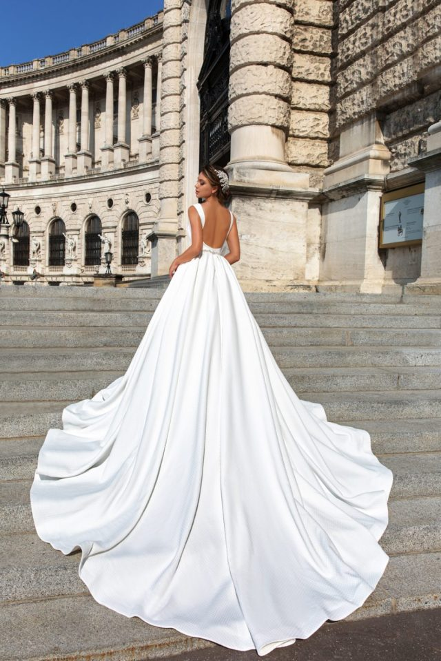 Backless satin ballgown by Crystal Design Couture